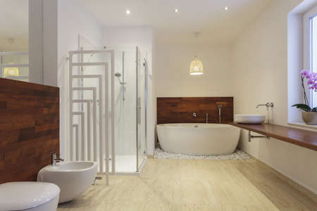 travertine house: Interior of bathroom with exotic wood Stock Photo