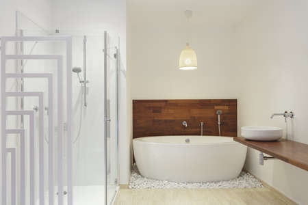 Shower and a bath in modern bathroom photo