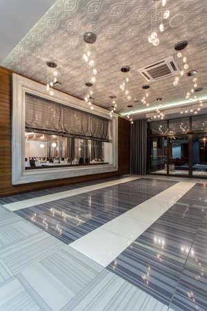 hotel resort: Woodland hotel - entrance and big window of a restaurant