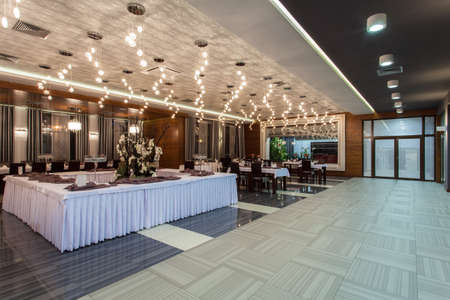 formal dinner party: Woodland hotel - restaurant prepared for an event