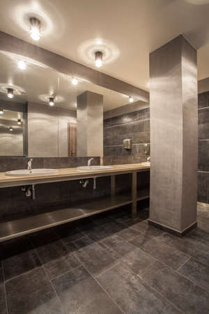Woodland hotel - interior of contemporary grey bathroom photo