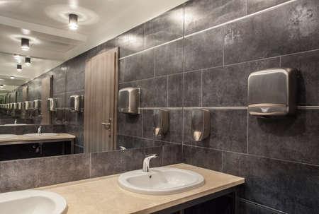 public bathroom: Woodland hotel - public bathroom in gray colours