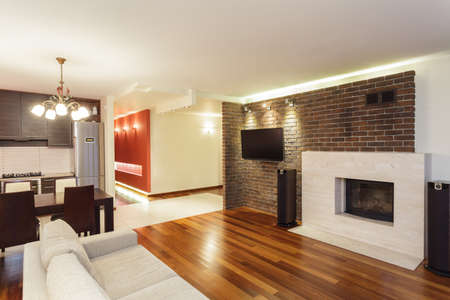 Spacious apartment - interior of modern and spacious house photo