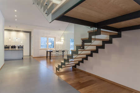 travertine house: Designers interior - Interior od modern house and staircase Stock Photo