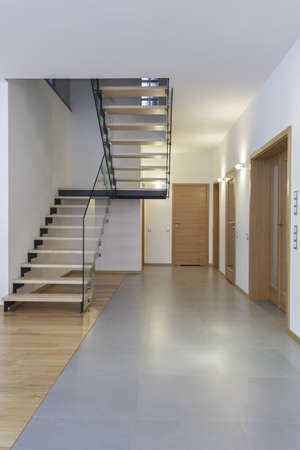 Designers interior - Corridor and stairs in modern house photo
