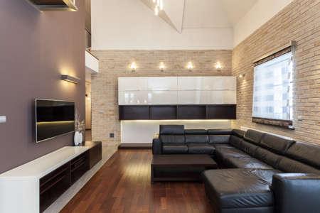 living room interior: Grand design - Interior of a modern and minimalist house