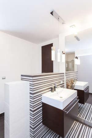 vessel sink: Grand design - Modern square sink in a bathroom Stock Photo