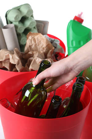 Recycling: glass, plastic and paper garbage, isolated background Stock Photo - 18685989