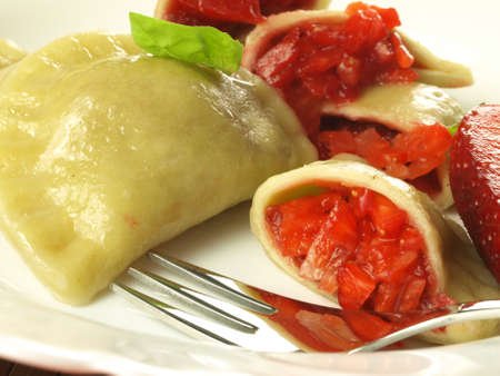 Close up of fruity dumplings served on a plate Stock Photo - 18686005