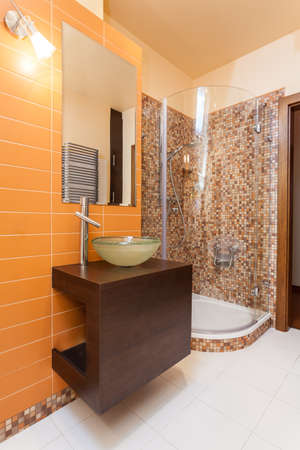 classy house: Classy house - bathroom with orange wall and wooden counter
