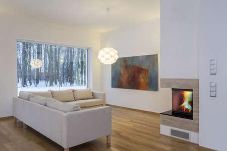 Designers interior - bright and minimalistic living room Stock Photo - 18686979