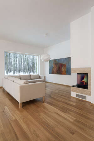 cosy: Designers interior - cosy living room with fireplace Stock Photo