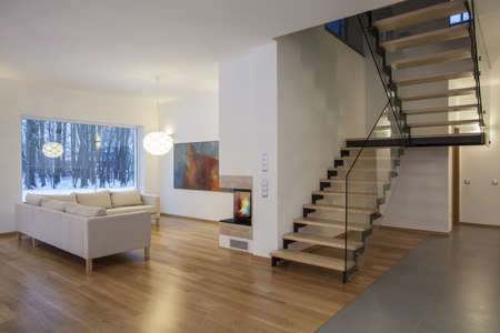 interior designers: Designers interior - living room, hall and a staircase