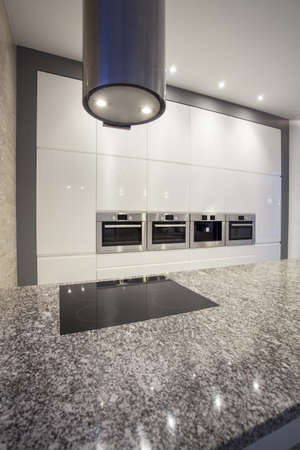 granite kitchen: Designers interior - closeup of modern minimalistic kitchen Stock Photo