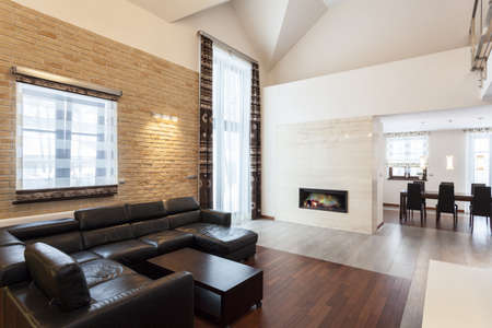 Grand design - modern living room with a fireplace Imagens