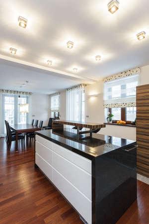 contemporary kitchen: Grand design - countertop in modern kitchen interior