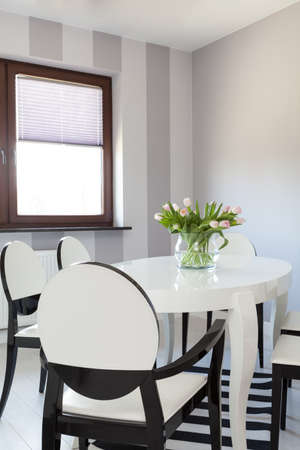 Vibrant cottage - Closeup of modern white table Stock Photo - 18732436