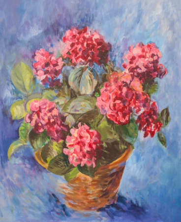 Pink hydrangea oil painting on a blue background photo
