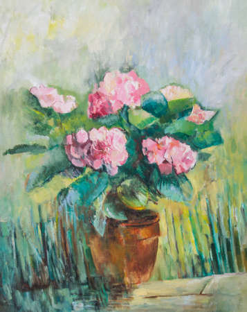 Art work of pink hydrangea flowers - oil painting photo