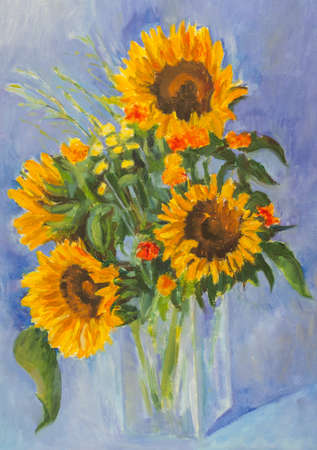 sunflower drawing: Sunflowers oil painting on a blue background.