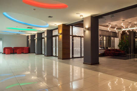 woodland hotel: Woodland hotel - hall with colorful neon lights Stock Photo