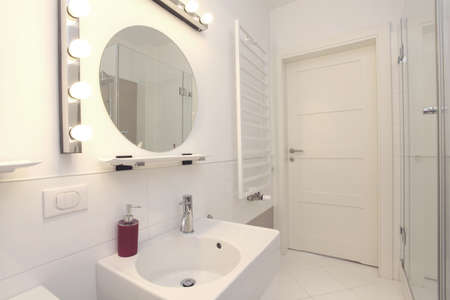 well equipped: New, white and stylish bathroom in modern house Stock Photo