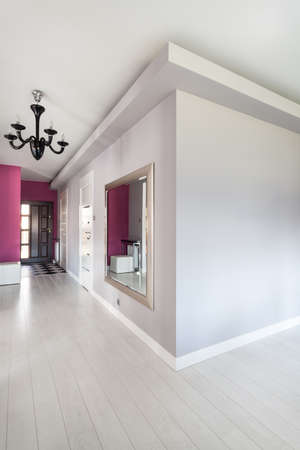 Vibrant cottage - long bright corridor in modern house Stock Photo - 18815701
