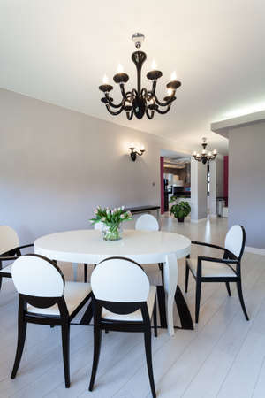 Vibrant cottage - white contemporary table in dining room Stock Photo - 18816093