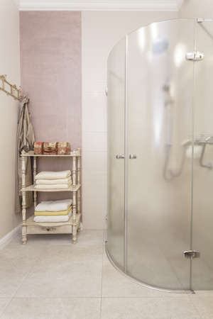 Tuscany - bathroom with a glass shower Stock Photo - 18857397