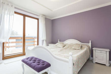 mediterranean interior: Tuscany - white and purple interior of bedroom Stock Photo