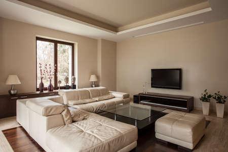 living room interior: Travertine house: Soft and comfortable sofa in living room Stock Photo