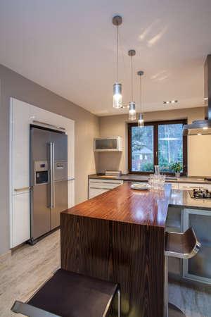 vertical fridge: Travertine house- Modern furniture in  luxury kitchen
