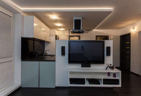 home cinema: Minimalist apartment - living room with a view at kitchen