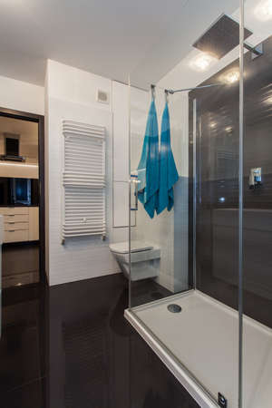 Minimalist apartment - Bathroom in black and white with turquoise towels photo