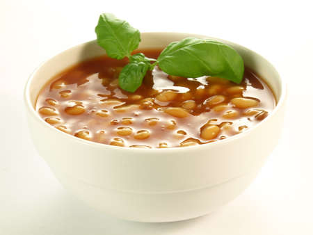 Baked beans ready meal on isolated background photo