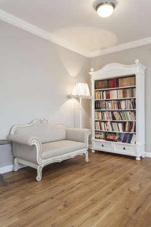 Bookcase: Tuscany - Living room with a bookcase Stock Photo