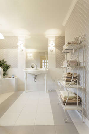 vessel sink: Tuscany - Interior of white stylish bathroom