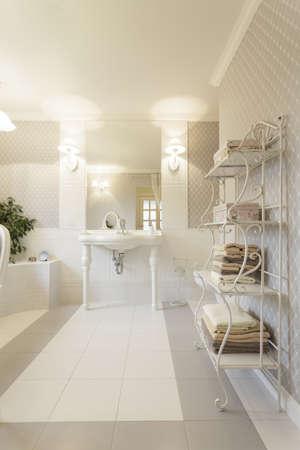 Tuscany - Interior of white stylish bathroom Stock Photo - 18915883
