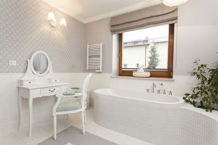 bathroom mirror: Tuscany - white spacious bathroom with a dressing table