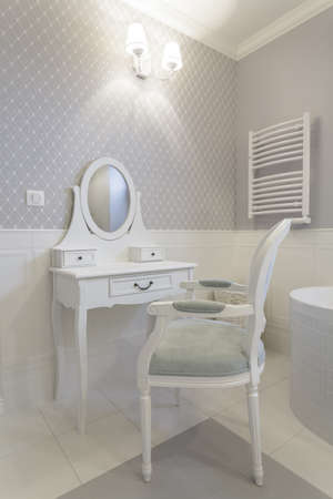 Tuscany - closeup of white classic dressing table photo