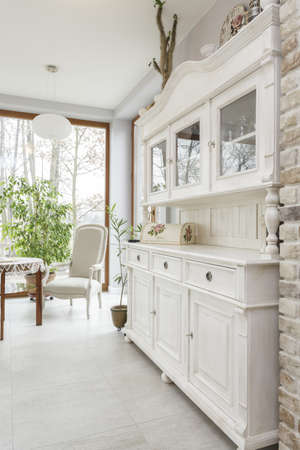 mediterranean interior: Tuscany - white kitchen commode, classic style