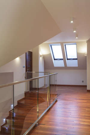banister: Grand design - Wooden hallway at the attic