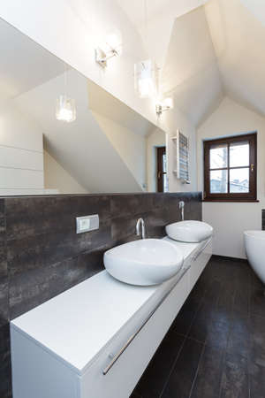bathroom design: Grand design - long countertop in modern bathroom Stock Photo
