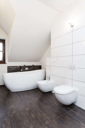 Grand design - white bath, toilet and bidet photo