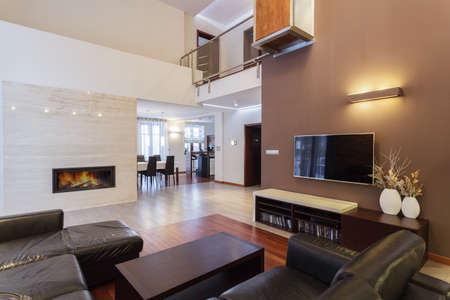 Grand design - cosy living room with fireplace Stock Photo - 19058468