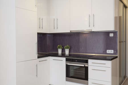 Cosy flat - kitchen with a purple wall photo