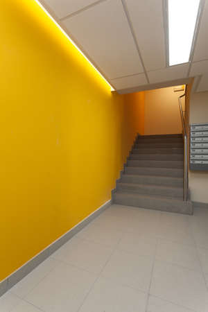 Yellow corridor of modern apartment photo