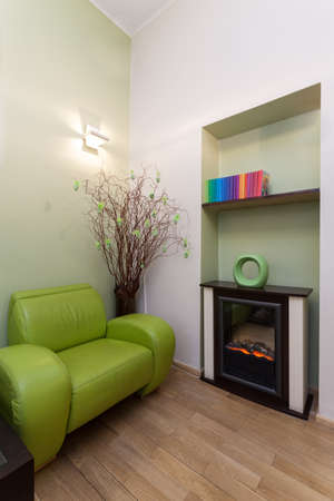 Waiting room with a green furniture, vertical Stock Photo - 19265079