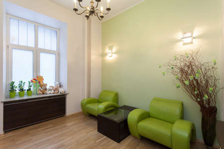 furnished: Waiting room with green furniture and toys