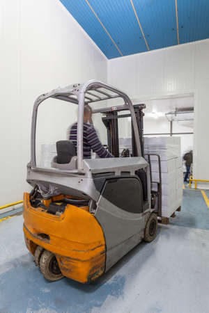 forklift driver: Forklift truct at work, a vertical view